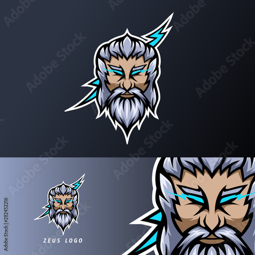 zeus god lightning mascot sport esport logo template thick beard mustache Canvas Print