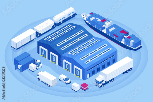 Foto auf Leinwand Texturen Isometric Industrial Warehouse Loading Dock. Truck with Semi Trailers Load Merchandise. Import export business logistic and transportation of international by container cargo