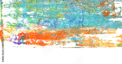 Abstract color acrylic and watercolor painting. Monotype template. Canvas texture background. Isolated on white.