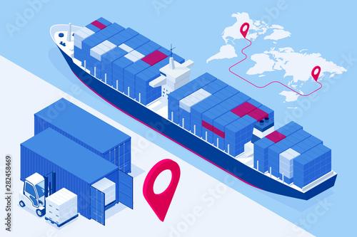 Fototapeta Isometric Maritime transport logistics concept