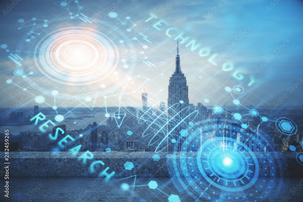 Fototapety, obrazy: Data theme hologram drawing on city view with skyscrapers background double exposure. Technology concept.