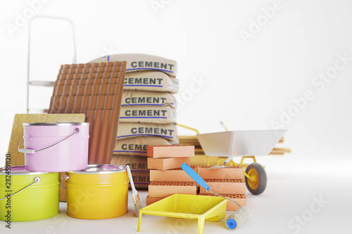Construction materials isolated on white Canvas-taulu