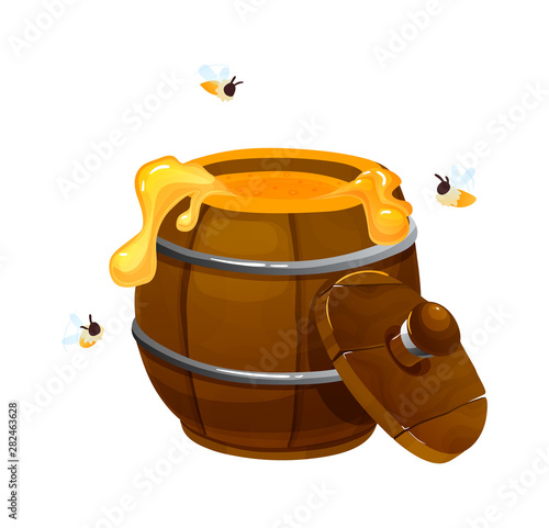 Carta da parati Wooden keg with honey with bees vector illustration