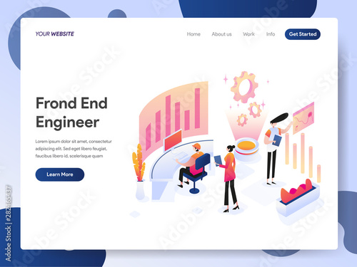 Landing page template of Front End Engineer Isometric