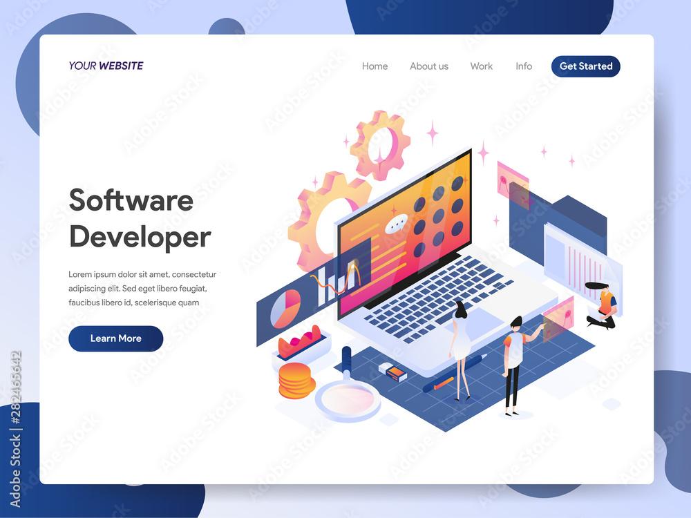 Fototapeta Landing page template of Software Developer Isometric Illustration Concept. Modern design concept of web page design for website and mobile website.Vector illustration EPS 10