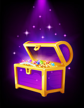 Open Purple Chest With Golden Coins And Jewelry Inside
