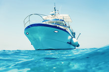 Motor Boat Floating Clear Turquoise Water