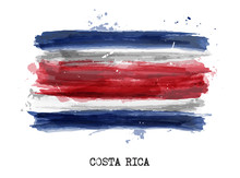 Realistic Watercolor Painting Flag Of Costa Rica . Vector .
