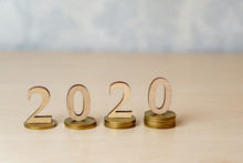 2020 - Wooden Numbers On Stack...