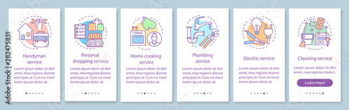 Home services onboarding mobile app page screen with linear
