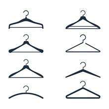 Clothes Hanger Silhouette Collection. Fashionable Different Types Of Clothes Hangers Icons.