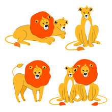 Cute Lion And Lioness - Flat Design Style Set Of Characters