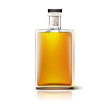 Blank Realistic Square Whiskey Bottle Isolated On White Background With Reflection. Place For Your Design And Branding. Vector