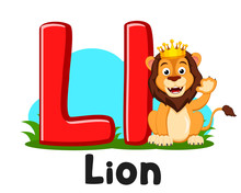 Letter Alphabet Animals, Ll With Lion Character On A White. Preschool Education.
