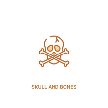 Skull And Bones Concept 2 Colored Icon. Simple Line Element Illustration. Outline Brown Skull And Bones Symbol. Can Be Used For Web And Mobile Ui/ux.
