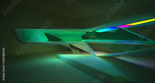 Abstract architectural concrete and wood smooth interior of a minimalist house with color gradient neon lighting. 3D illustration and rendering. © SERGEYMANSUROV