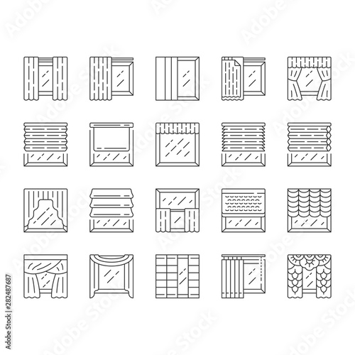 Fototapeta Window treatments and curtains linear icons set. Roman shades, blinds, valance, panel, shutters. Home decor shop. Thin line contour symbols. Isolated vector outline illustrations. Editable stroke obraz na płótnie