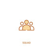 squad concept 2 colored icon. simple line element illustration. outline brown squad symbol. can be used for web and mobile ui/ux.