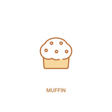 Muffin Concept 2 Colored Icon. Simple Line Element Illustration. Outline Brown Muffin Symbol. Can Be Used For Web And Mobile Ui/ux.