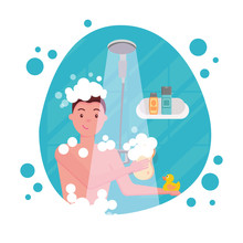 Young Man Taking Shower - Round Shape Composition. Happy Guy Washing His Head, Hairs, Body Soap Under Water. Routine Hygiene Procedure In Bathroom Concept For Ad . Flat Cartoon Vector Illustration.