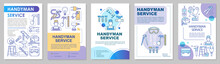 Handyman Service Brochure Template Layout. Home Repair. House Maintenance. Flyer, Booklet, Leaflet Print Design With Linear Illustrations. Vector Page Layouts For Annual Reports, Advertising Posters