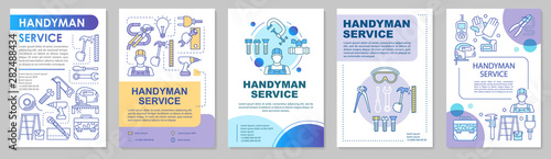 Obraz Handyman service brochure template layout. Home repair. House maintenance. Flyer, booklet, leaflet print design with linear illustrations. Vector page layouts for annual reports, advertising posters - fototapety do salonu