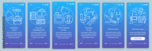 Home services onboarding mobile app page screen vector