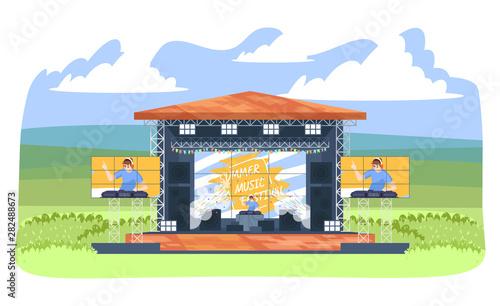Fotografia Summer DJ music festival flat vector illustration