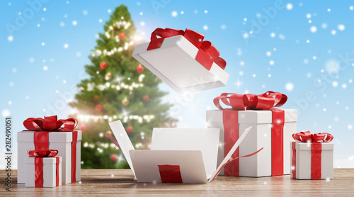 Poster Pierre, Sable Christmas presents on wooden floor with blurred snowflakes and green fir tree background 3d-illustration