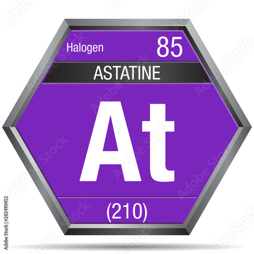 Photo Astatine symbol in the form of a hexagon with a metallic frame