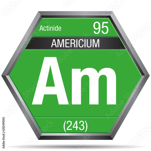 Photo Americium symbol in the form of a hexagon with a metallic frame