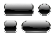 Black Glass Buttons. Set Of 3d...