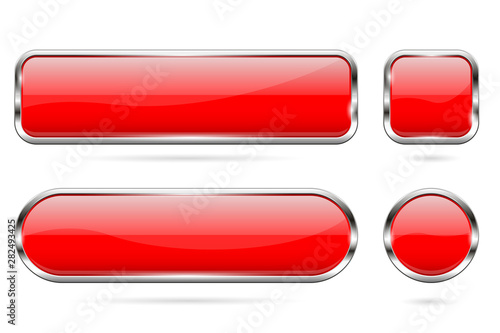 Red glass buttons. Set of 3d shiny icons with chrome frame Wallpaper Mural