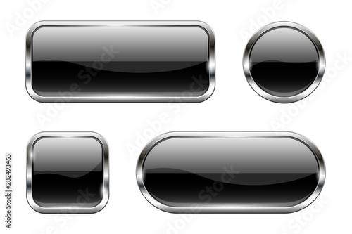 Fotografie, Obraz Black glass buttons. Set of 3d shiny icons with chrome frame