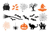 Fototapeta Londyn - Halloween symbols hand drawn illustrations