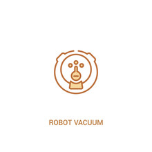 Robot Vacuum Concept 2 Colored Icon. Simple Line Element Illustration. Outline Brown Robot Vacuum Symbol. Can Be Used For Web And Mobile Ui/ux.