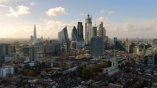 Aerial: London Cityscape And Iconic Skyscrapers, United Kingdom