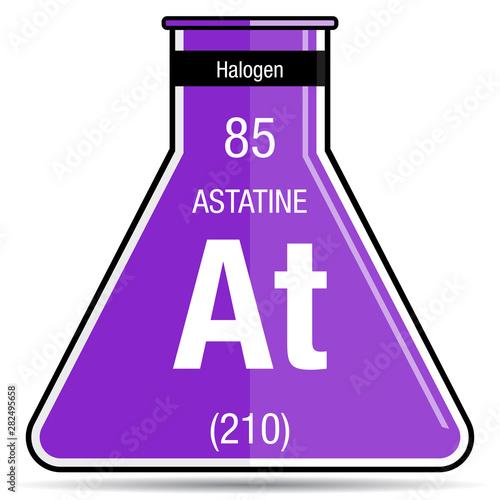 Astatine symbol on chemical flask Canvas Print