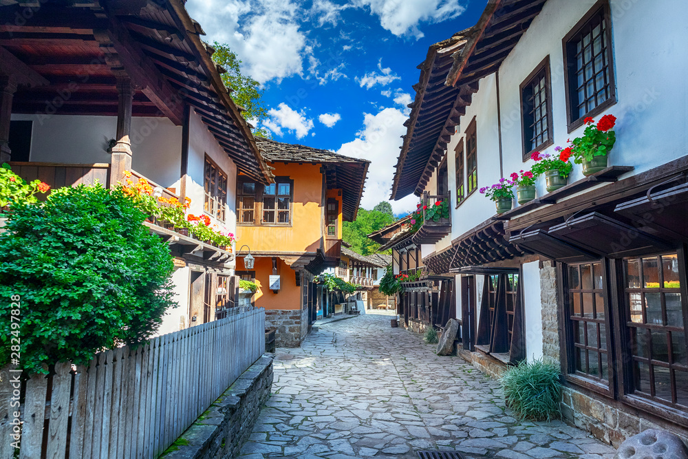 Fototapety, obrazy: Old traditional Bulgarian house in Architectural Ethnographic Complex Etar (Etara) near town of Gabrovo. Open Air Museum at summer time. History tourism