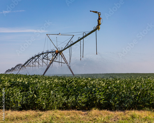 Cuadros en Lienzo  closeup of center pivot irrigation system spraying water on soybean farm field