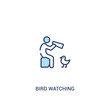 bird watching concept 2 colored icon. simple line element illustration. outline blue bird watching symbol. can be used for web and mobile ui/ux.