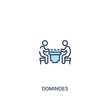 dominoes concept 2 colored icon. simple line element illustration. outline blue dominoes symbol. can be used for web and mobile ui/ux.