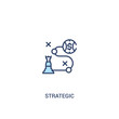 strategic concept 2 colored icon. simple line element illustration. outline blue strategic symbol. can be used for web and mobile ui/ux.