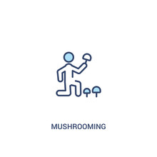Mushrooming Concept 2 Colored Icon. Simple Line Element Illustration. Outline Blue Mushrooming Symbol. Can Be Used For Web And Mobile Ui/ux.