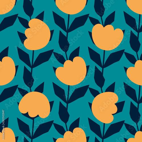 Fototapeten Künstlich Flowers seamless pattern. Scandinavian style, vector illustration. Design for fabric, wrapping, textile, wallpaper, apparel.