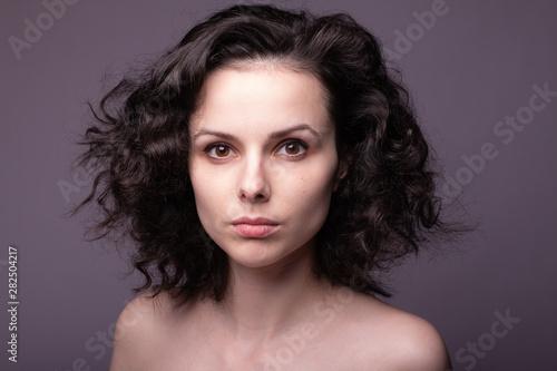 Recess Fitting Hair Salon beautiful young curly girl portrai