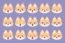 Colorful Vector Set Of Cute Akita Emoticons. Collection Isolated Funny Muzzle Dog With Different Emotion In Cartoon Style.