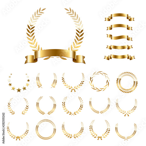Golden laurel wreaths and ribbons set on white background Fototapeta