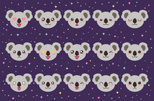 Colorful Vector Set Of Small Cute Koala Emoticons. Collection Isolated Funny Muzzle Bear Neat With Different Emotion In Cartoon Style.