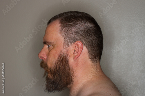 profile of a mans face with a beard Tablou Canvas